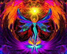 Psychedelic 3D Art | rainbow reiki angel psychedelic energy art 8 x 10 print $ 20 phoenix ...