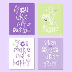 Kids Wall Art Purple and Green Nursery Wall Art, Playroom Art - You Are My Sunshine 8x10 nursery decor, baby shower gift, boy or girl colors. $59.95, via Etsy.
