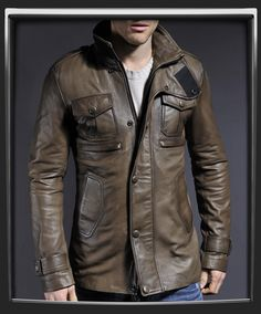 Mid thigh length leather jacket.        Very versatile style.      Earth Brown Italian nappa leather.      100% made in Italy.      Green lining.      Fitted mid thigh length jacket.      Two interior pockets.      High wrap collar design.      Chest pockets.      You thought style like this couldn't be bought.      Model has 38 inch chest, wearing size Medium for a fitted look.    £379.99