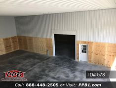 "Pole Building Dimensions: 50' W x 75' L x 18' 6"" H (ID# 578) One Building with a Mezzanine and Partition Wall (1) 10; x 10' Uninsulated White Roll Up Door, Location:Partition Wall Insulation: Wall: R-21 with Liner Panel Roof: R-38 with Liner Panel Mezzanine: 50' W x 12' L x 10' H 16""on Center Joists 3/4"" Flooring 36"" Wide Staircase 50' Edge Railing One Section of Building to be 50' W x 30' L x 12' H Partition Wall: 50'W x 18' H 8' High Plywood on Inside of Building 6"" Concrete Floor Roll Up Doors, Pole Buildings, Wall Insulation, Garage Design, Concrete Floors, Garages, Plywood, 50th, Garage Doors"
