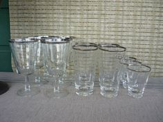 Vintage Mid Century Modern Silver Rim Glass Set, Retro Barware, Cocktail, Highball and Lowball Set