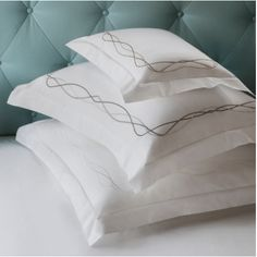 Scrolling leisurely across a cool white field of our classic Grande Hotel percale, Cade's satin-stitch lines lend a sense of play to an otherwise classically cr