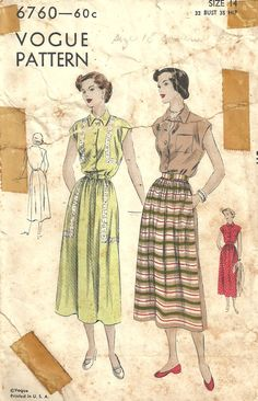 Eunice - 1st day dress Vogue 6760is a vintage sewing pattern that was designed in 1949.  It makes a graceful shirtwaist dress with kimono sleeves.  Size 14: Bust 32 ---