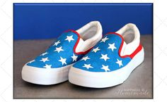 DIY Red, White, and Blue Patriotic Shoes for the Fourth of July. Create bright and colorful holiday apparel using Elmer's Painters paint markers on canvas and fabric.