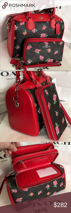 Coach Purse 100% Authentic Coach Purse Crossbody, brand new with tag!.color Dark Brown/Red. Coach Bags Crossbody Bags