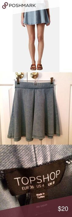 Topshop denim skater skirt Adorable skirt in stretchy denim material! Skirt is the same as the first pic but color is slightly darker (see other pics). Topshop Skirts Circle & Skater