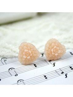 Flower Pink Heart Earrings