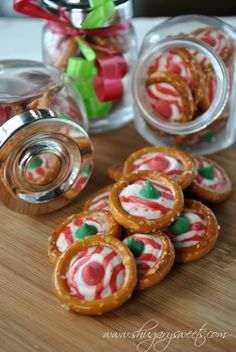 Pretzel Rings with Candy Cane Hershey Kisses- one of the easiest holiday treats #giftidea #cookieHQ www.shugarysweets.com