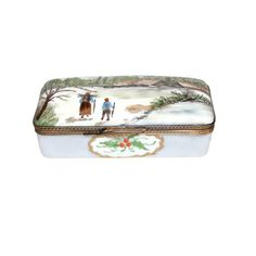Limoges Victorian Christmas Trinket Box Vintage Handmade Collectibles Home Decor Bath & Beauty Porcelain Box Gift for Her c1940s