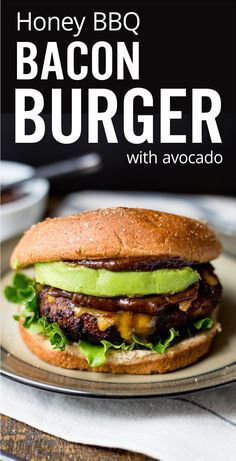 The ultimate homemade grilled honey bbq bacon burger recipe. Easy juicy burger with bbq sauce, bacon, cheddar and avocado you can cook at home on the barbecue.