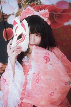 Japanese Mask, Japanese Girl, Japanese Kimono, Inuyasha Cosplay, Character Inspiration, Character Design, Kitsune Mask, Art Photography Portrait, Pose Reference Photo