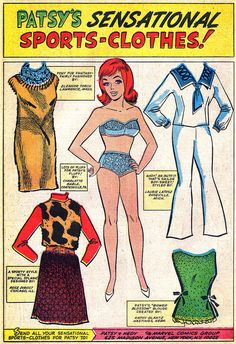 """PATSTY's SENSATIONAL SPORTS-CLOTHES Paper doll pages from Patsy and Hedy #107 (August 1966), art by Stan Goldberg, letters by Sam Rosen  Okay, okay, maybe these aren't """"technically"""" paper dolls and they don't have tabs, but it's my blog and I say it's paper dolls and to heck with it. I like all of these except for the cow-pattern. Patsy, say it ain't so!"""