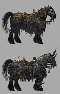 A couple of designs for Chaos horse armor. Horse Armor, Horse Gear, Creature Concept Art, Creature Design, Mythical Creatures Art, Fantasy Creatures, World Of Warcraft, Warhammer Fantasy Roleplay, Art Design
