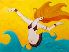 Original Painting Belly Dance Water Goddess Acrylic Painting Dancer by JGCahoon, $320.00