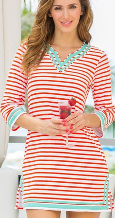 Combining style and comfort, the Chelsea Stripe Terry Cloth Cover-up offers a figure-flattering silhouette.