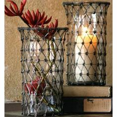 I can do this and save the $40...cover hurricanes in sweater, twine, seagrass, wire, rattan..