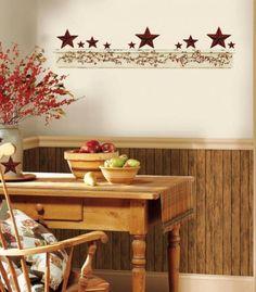 Country Kitchen Wall Decor burgundy barn star giant wall decals country kitchen stars
