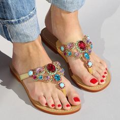 Shop for Austin sandal at shopmystique,com! Browse our selection of handmade jeweled and embellished multi-colored leather sandals. Sandals made with gemstones, rhinestones, and shells! Find your perfect pair! Free U. Ribbon Sandals, Sparkly Sandals, Office Sandals, Mystique Sandals, Block Sandals, Casual Heels, Types Of Shoes, Pump Shoes, Leather Sandals