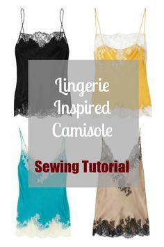 Lingerie Inspired Camisole Sewing Tutorial. Really happy I found this- you really can't find a silky camisole tank anymore. Everything has stretch- a highly overrated feature of the entire garment industry.this link works:https://wkdesigner.wordpress.com/2009/08/10/bias-cut-camisole/