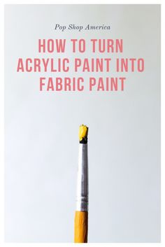 Fabric Medium to any acrylic paint to turn it into fabric paint. - Pop Shop America Modern Handmade - Use Fabric Medium to any acrylic paint to turn it into fabric paint. Acrylic Paint On Fabric, Fabric Art, Fabric Crafts, Best Fabric Paint, Fabric Paint Shirt, Watercolor On Fabric, Fabric Painting On Clothes, Acrylic Paint Mediums, Fabric Paint Designs
