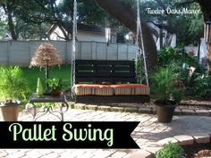 Pallet Swing!!! Backyard Projects, Diy Wood Projects, Outdoor Projects, Outdoor Decor, Woodworking Projects, Outdoor Crafts, Outdoor Seating, House Projects, Outdoor Rooms