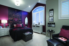 Maroon and black with touches of white...what a unique colour scheme for a teenage girl's bedroom! - Our Weston model in Airdrie, Alberta