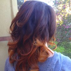 Just finished doing this girls hair. It's called ombré hand painted color on the ends. Love this look!