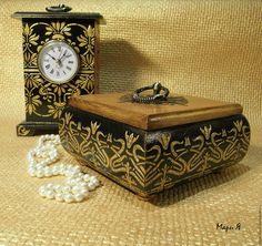 """Купить Часы настольные каминные - Климт """"Древо жизни"""", Шкатулка модерн - часы настольные черные"""