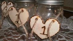Set of 10 Rustic Mason jar table numbers engraved by tiasdresses,
