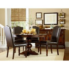 highland park round dining dining table u0026 4 bonded leather side chairs usard54