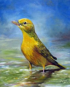 Tanager Oil Painting/Lizzie's Art/Etsy