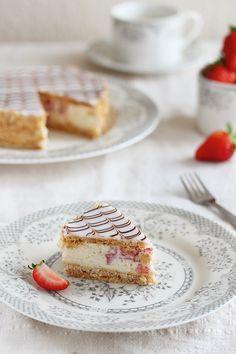 Strawberry Mille-Feuille - slice by kupenska.deviantart.com on @deviantART