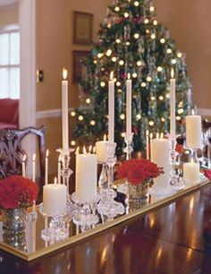 Buy a $10 dollar mirror and spray paint gold use on dining room table with candles. Perfect