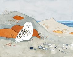 Snowy Owl Beach Print, watercolor art print