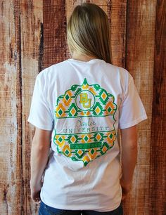This cool tribal designed Baylor t-shirt is one of our very favorites. Not only will you fall in love with this comfy front pocket tee, but so will everyone else!