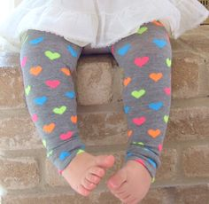 Gray Neon Hearts Leg Warmers 6 Months Full Leg - 8 Years Knee High. $8.00, via Etsy.