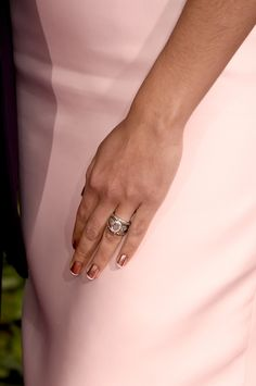 Matthew McConaughey's plus-one showed off her wedding ring(s) at the Golden Globes rocking a rose gold polish with white tips. That's our kinda French Manicure.   - Cosmopolitan.co.uk