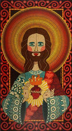 Sagrado Coração de Jesus, Andrea Horn Religious Images, Religious Art, Jesus E Maria, Catholic Art, Arte Popular, Sacred Art, Dot Painting, Christian Art, Ikon