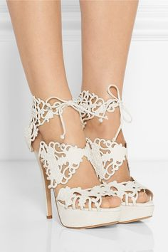 Just so pretty.   Ummm... yes please. Super heart these  Charlotte Olympia  cutout sandals.