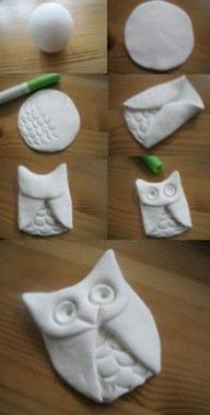 Not sure what kind of clay this is...but I think it should work with Crayolas Model Magic or other air drying clay. Well make larger for an ornament/smaller for a pendant...add color with water colors, acrylics or markers! Maybe find the porcelain recipe to use instead of salt dough. Keeping for how to on the owl.