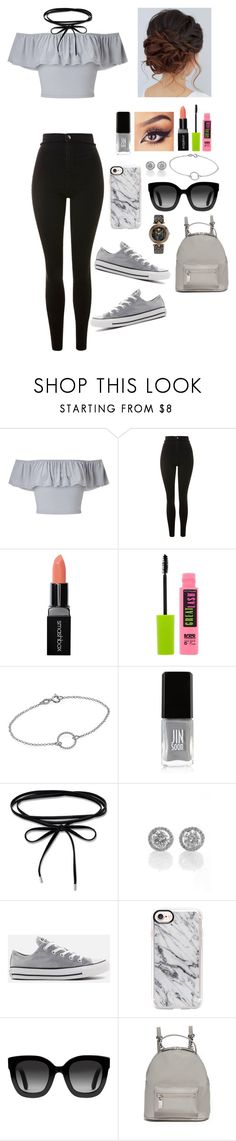 """Gray kind of day"" by gussied-up ❤ liked on Polyvore featuring Miss Selfridge, Topshop, Smashbox, Maybelline, JINsoon, Converse, Casetify, Gucci, Deux Lux and Versace"