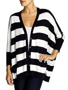 Michael Kors oversized striped cardigan. so cute with dark skinnies and bright colored flats, right?
