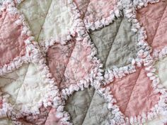 French Country Baby Girl Quilt  Rag Quilt by LittleTreasureQuilts, $70.00
