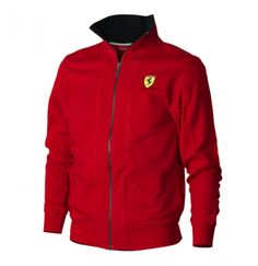 Official Ferrari Merchandise    Red Scuderia Ferrari Zipper Sweatshirt    This sweater features the Scuderia Ferrari Shield on the chest, in the top left corner and the Ferrari Scuderia logo embroidered on the back in white. There is a full length zip and a pedal detail zip pull, the collar is in a contrasting Red colour.    Sweatshirt is also available in Black