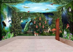 3D Peacock Mysterious Forest Parrot Wall Murals Wallpaper Decals Art Print IDCQW-000313
