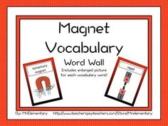 Magnet Vocabulary Word Wall - This is a set of 16 magnet cards with words and pictures to post in your classroom on a science word wall or bulletin board. I've found that having the pictures along with the words on these cards is especially helpful for my ELL students.