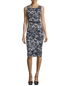 B3ACM Michael Kors Collection Floral-Print Stretch-Cotton Sheath Dress, Black/White