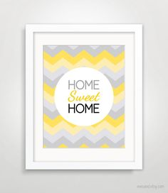 Like the typography, use of negative space, palette, and the chevron background. Chevron Background, Sweet Home, Wall Decor, House Warming Gifts, Home Art, Chevron Print, Chevron Shower Curtain, Home Decor, Etsy