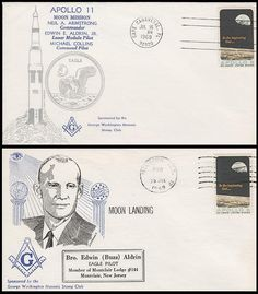 Apollo 11 Moon Mission / Moon Landing George Washington Masonic Stamp Club Cachet Set of 2 Event Covers: Postmarked on the morning of take off and postmarked on day of moon landing. Also includes the 2 pictured inserts! Great Collectible and Addition to any Collection! ARE IN MINT UNADDRESSED CONDITION.