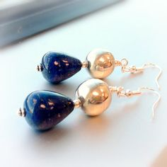 Navy Blue Lapis Earrings Sterling Silver by jewelrybycarmal, $42.00